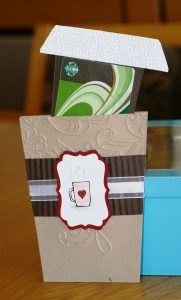 "hand made gift card holder in the shape of a ""to-go"" coffee cup"