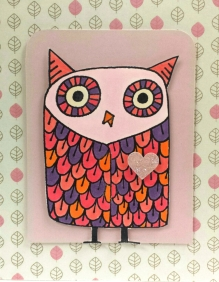 Big Owl by Hero Arts rubber stamp; Martha Stewart heart punch