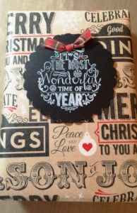 Chalkboard tag on Christmas gift